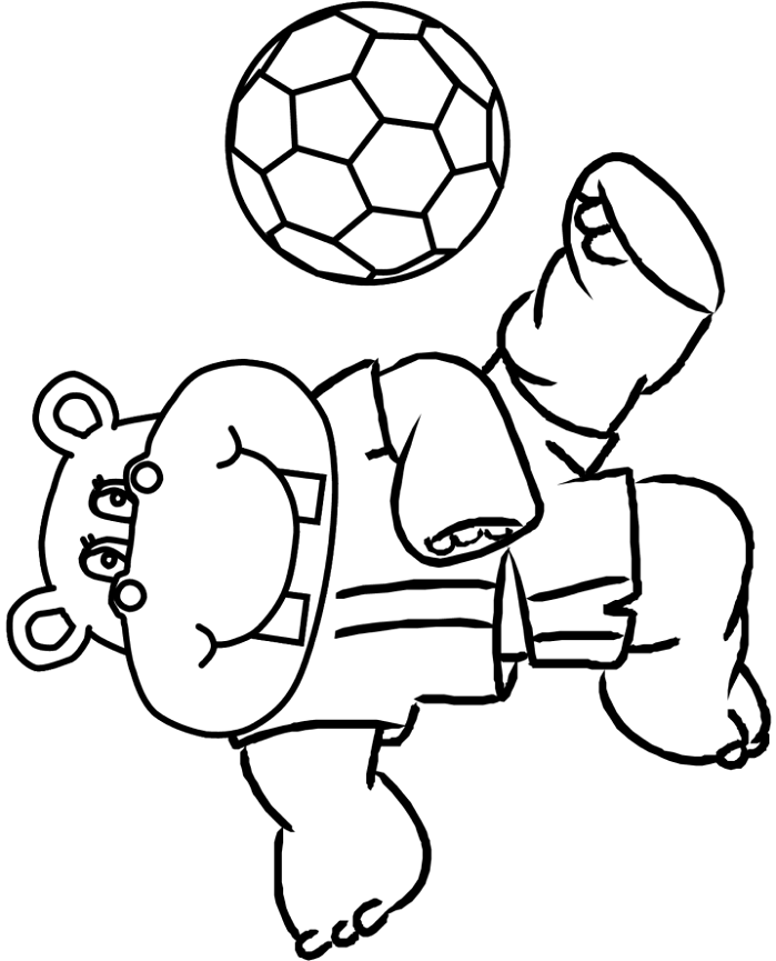 Coloriage Hippopotame Jouant Au Football