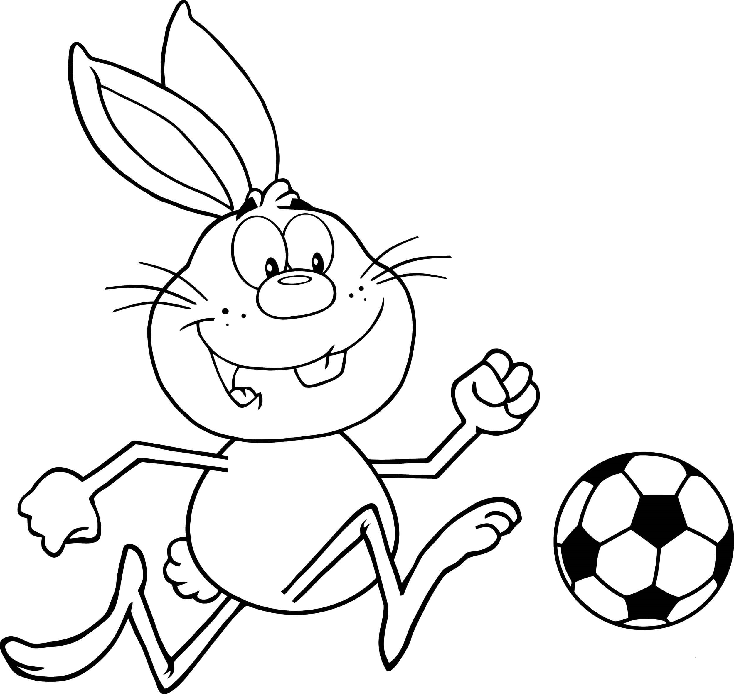 Coloriage Lapin Jouer au Football