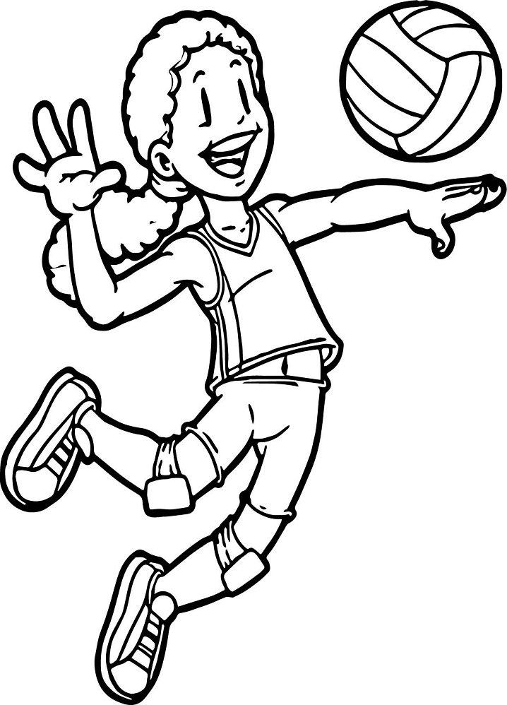 Coloriage Fille Joue au Volleyball