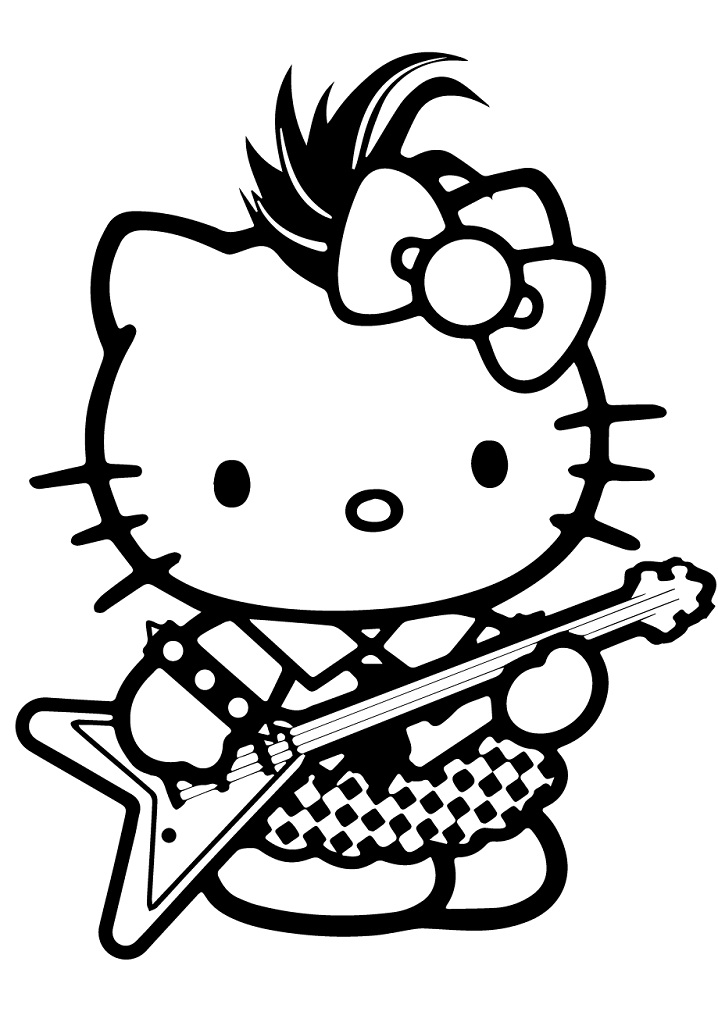 Coloriage Hello Kitty Rock star à imprimer