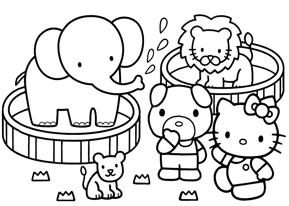 Coloriage Hello Kitty Zoo à imprimer