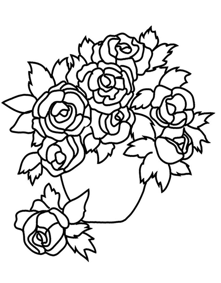 Coloriage Roses Pot