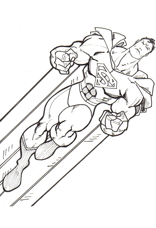 Coloriage Superman Volant