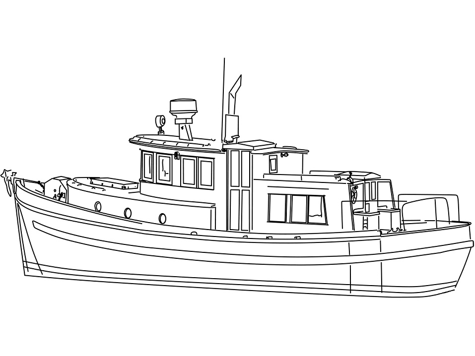Coloriage Yacht Chalutier