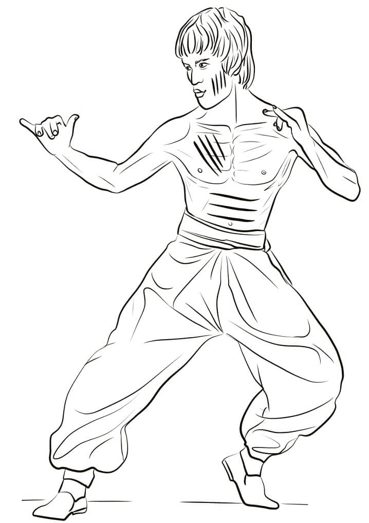 Coloriage Bruce Lee