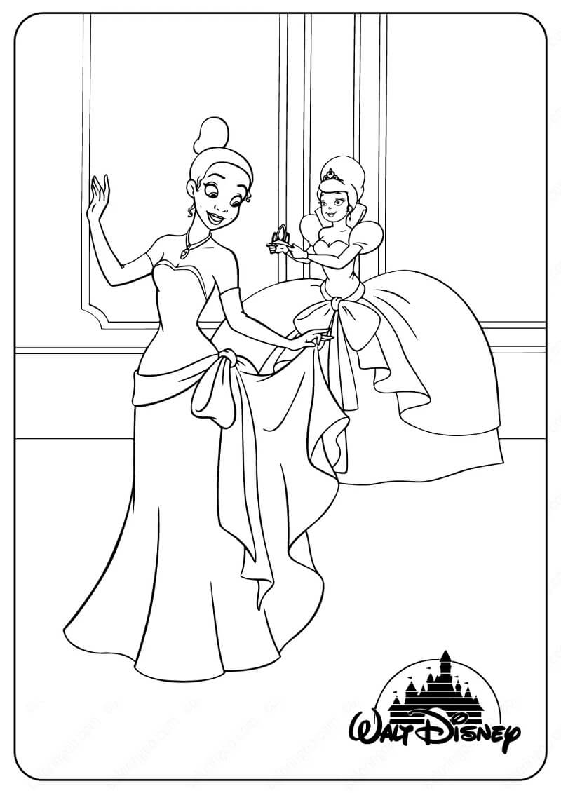 Coloriage Charmant Princesse Tiana 1