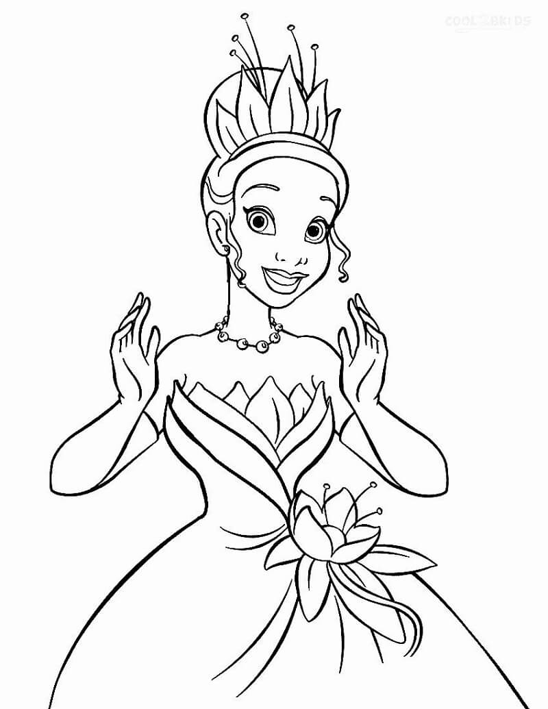 Coloriage Charmant Princesse Tiana 3