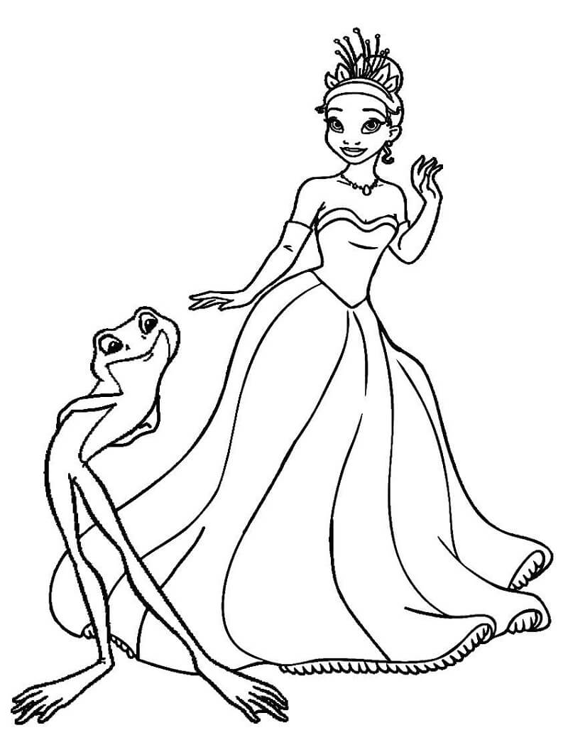 Coloriage Charmant Princesse Tiana 4