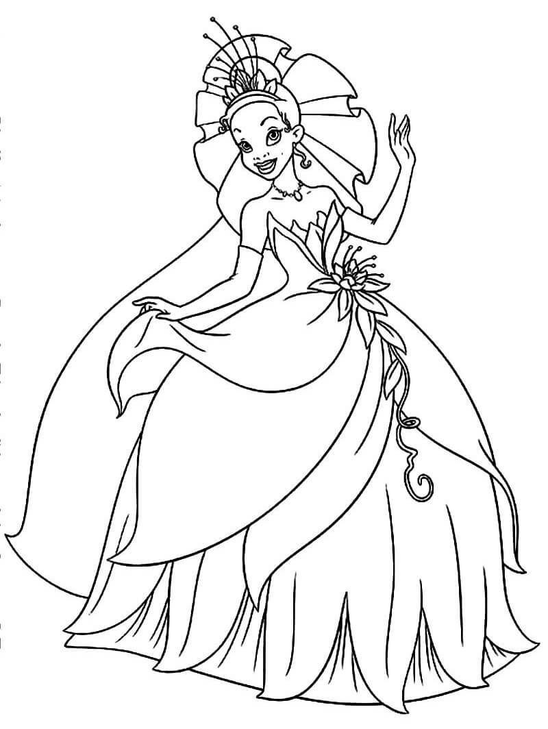 Coloriage Charmant Princesse Tiana