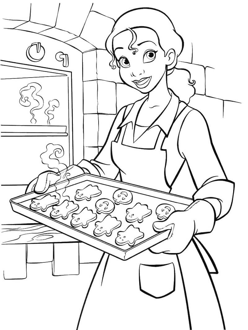 Coloriage Princesse Tiana et biscuits