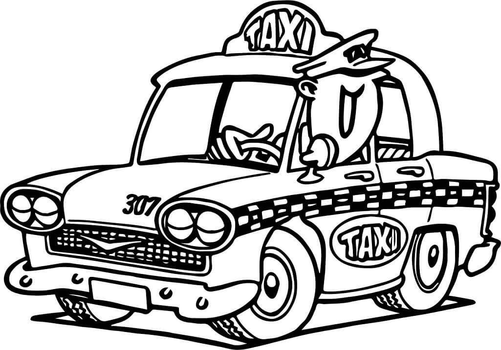 Coloriage Conducteur de Taxi 1