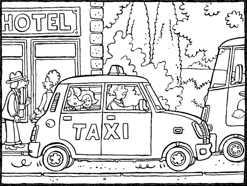 Coloriage Conducteur de Taxi 6