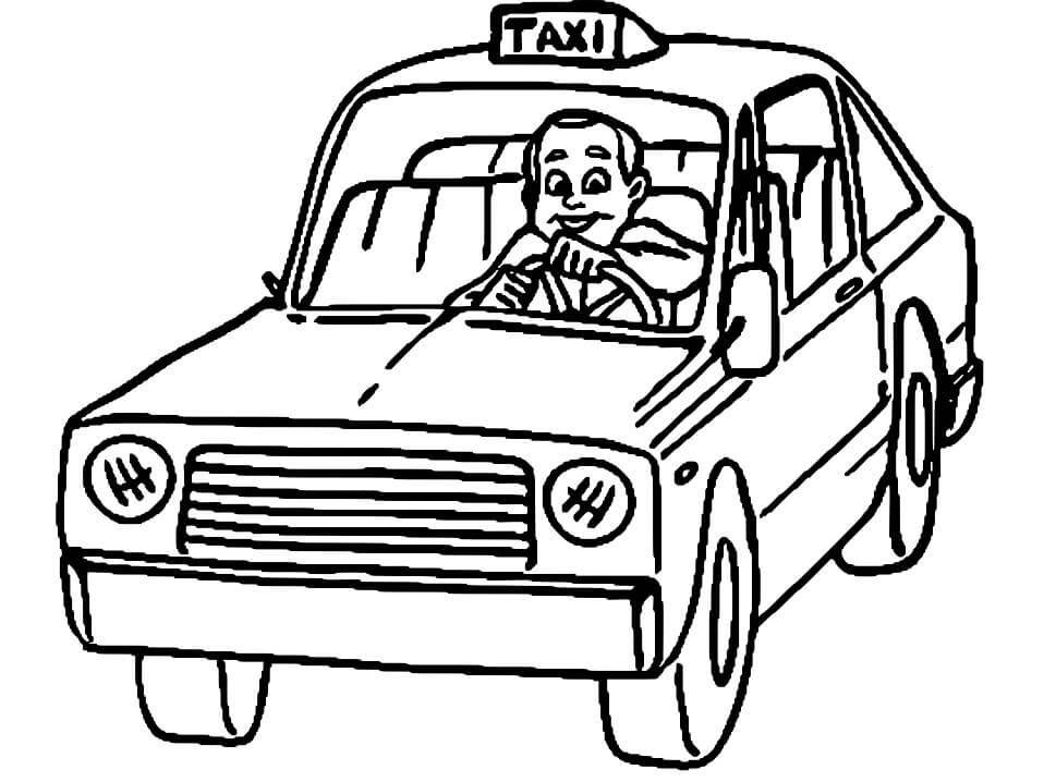 Coloriage Conducteur de Taxi